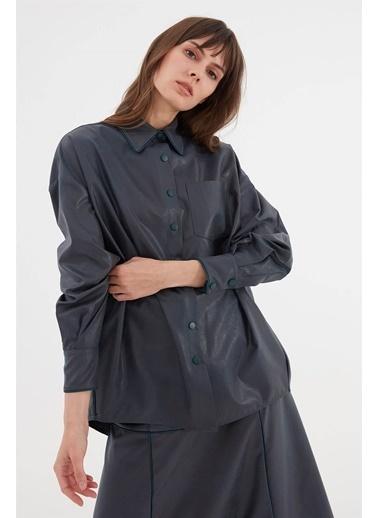 Vivencia Suni Deri Kadın Gömlek  Petrol